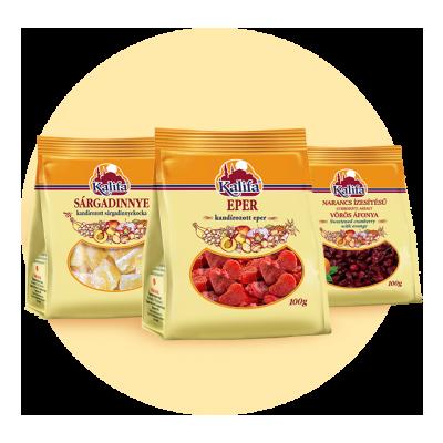 Cukrozott aszalt gyümölcsök